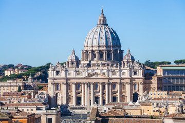 Papal Basilica of St Peter and square in Vatican