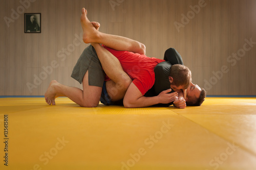 MMA fighter holding his opponent with triangle hold and trying to choke his neck Poster