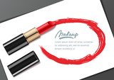 Vector banner design template with red lipstick and lipstick smears frame, isolated on white. Beauty and makeup background. Makeup, beauty industry and cosmetics concept.