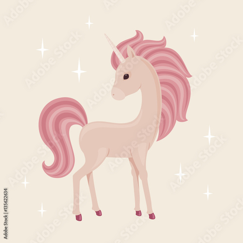 Poster Pony Unicorn with stars