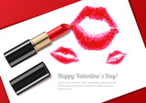 Vector watercolor isolated illustration of womens lips kiss and red lipstick. Happy Valentines day greeting card or banner design template. Beauty and makeup background.