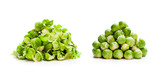 Peeled and unpeeled brussels sprouts heaps