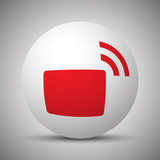 Red Transmitter icon on white sphere