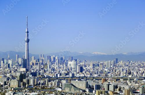 東京都市風景東京スカイツリー 都心の街並 快晴 青空 2017年