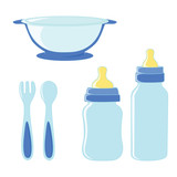 Set of dishes for baby boy.