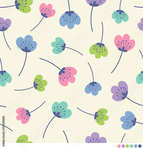 Fototapeta Seamless pattern of flower vector