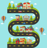 Roadmap with buildings and cars on the road