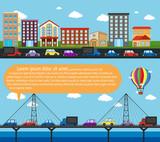 Inforgraphic city scene with roads