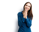 happy gesturing smiling young woman, isolated