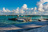 amazing tropical holidays. Beach marine with old boat. Mauritius