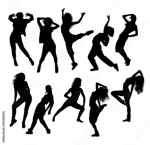 Street Dance Dancer Silhouettes Art Vector Design