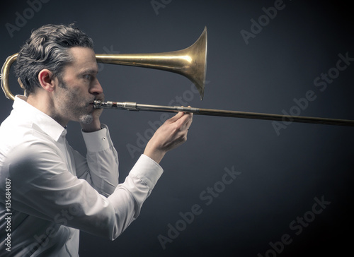 Poster Musician with a trombone