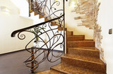Classical mosaic stairs with ornamental handrail and stone decor - 135685075