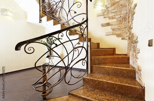 Classical mosaic stairs with ornamental handrail and stone decor