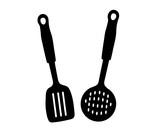 sagoma nera di due oggetti utili per cucinare e prendere cibo