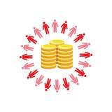 Vector image of a circle of people with coins