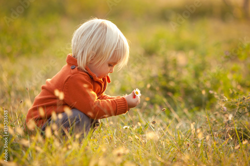 blonde child play with flowers in a park