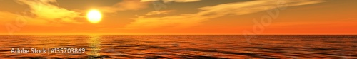 Fotobehang Oranje eclat Panorama of sea sunset light over the ocean