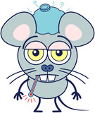 Cute gray mouse in minimalistic style with huge rounded ears, bulging eyes and big teeth while having a thermometer in its mouth, an ice pack above its head, showing a sad mood and feeling sick