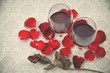 Still life of Wine glasses ,Roses and Rose petals,Greeting Card,Valentine's day,Background,Love Concept.