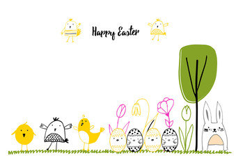 Hand drawn easter card