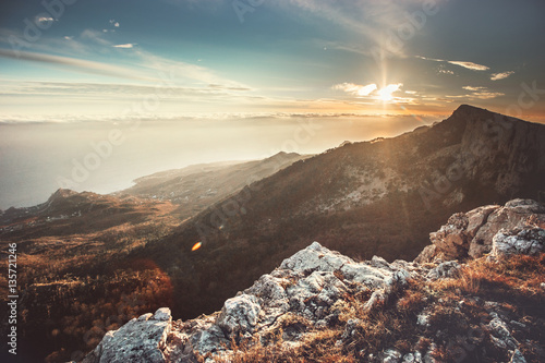 Sunset Mountains Landscape Travel serene scenic aerial view.