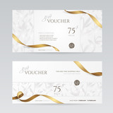 Set of stylish gift voucher with golden ribbon and silver floral pattern. Vector template for gift card, coupon and certificate. Isolated from the background. - 135726844
