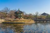 Beautiful Palace Hyangwonjeong at the Gyeongbokgung Palace in Seoul, South Korea.