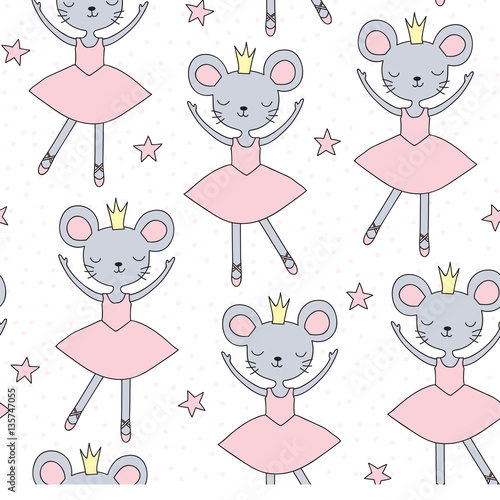Cotton fabric seamless ballerina mouse pattern vector illustration