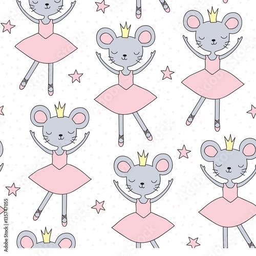 Cotton fabric seamless ballerina mouse pattern vector illustration