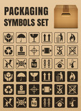 Packaging symbols set including Fragile, Handle with care, Keep dry, This side up, Flammable, Recycled, Package weight, Do not litter, Max stack, Clamp and Sling here, Protect from heat and others - 135748070