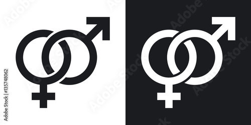 Vector male and female sex symbols. Two-tone version on black and white background