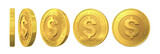 Set of gold coins with dollar sign isolated on a white backgroun