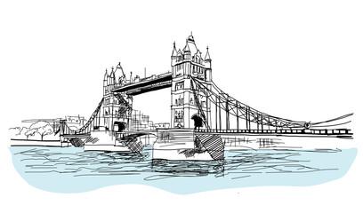 Drawing sketch Tower Bridge, London, England, illustration vector