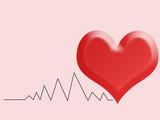 Cartolina o illustrazione per San Valentino con un cuore rosso e la linea simbolo del cuore che batte su sfondo rosa