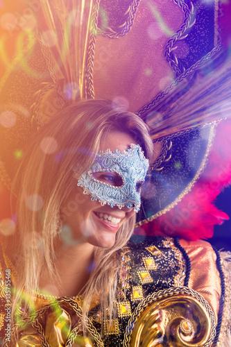Blonde Brazilian woman wearing carnival costume Poster