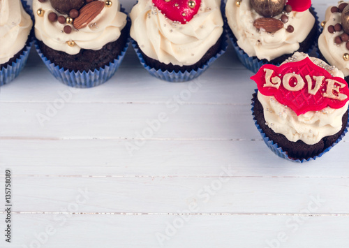 Poster Birthday cupcake. Cupcakes for Valentine's Day. cupcake with hea
