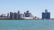 Skyline of Detroit, Michigan from Riverfront Trail, Windsor, Ontario.