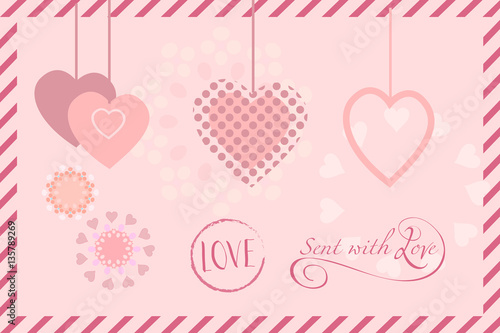 Hearts poster for Mothers Day, Valentine's Day, Wedding greeting card, invitation Vector template. Romantic poster. Love, Typography postcard envelope. Calligraphy retro  © sofiartmedia