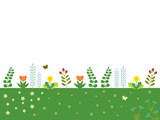 Field of Spring Flowers - White background