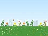Field of Spring Flowers -  Blue Sky