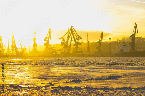 the frozen sea, port, ships. Selective focus. Poster