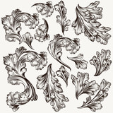 Set of hand drawn vector filigree swirls for design