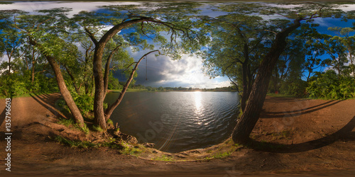 Poster Full 360 degree equirectangula panorama forest lake at sunset
