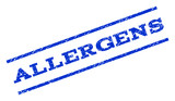 Allergens watermark stamp. Text tag between parallel lines with grunge design style. Rotated rubber seal stamp with dirty texture. Vector blue ink imprint on a white background.