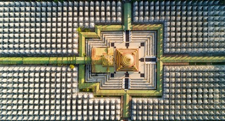 Top aerial view of Kuthodaw Pagoda in Myanmar