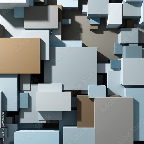Cubes of different sizes top view