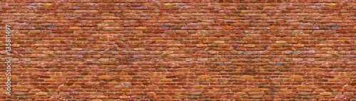 Fototapeta grunge brick wall, old brickwork panoramic view