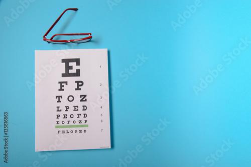 Juliste glasses lying on snellen test chart