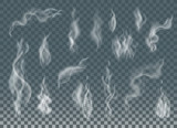 Realistic cigarette smoke waves or steam on transparent background. - 135820291